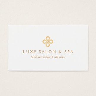 ELEGANT GOLD CLOVER LOGO on WHITE for Salon, Spa Business Card