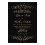 Elegant Gold Colour Flourish and Damask 13 Cm X 18 Cm Invitation Card