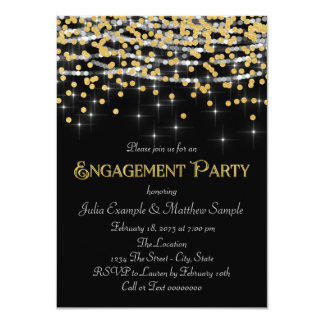 "Elegant Gold Confetti Engagement Party 4.5"" X 6.25"" Invitation Card"