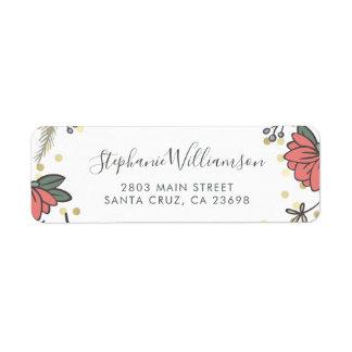 Elegant Gold Confetti & Spring Floral Wedding Return Address Label