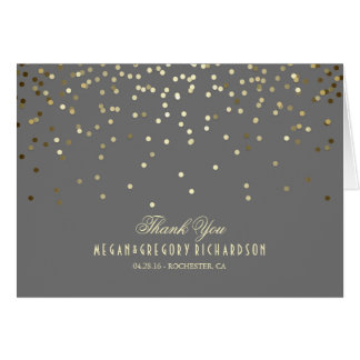 Elegant Gold Confetti Wedding Thank You Note Card