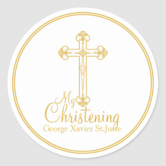 elegant gold cross CHRISTENING party favor label Round Sticker