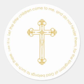 elegant gold cross CHRISTENING party favor label Sticker