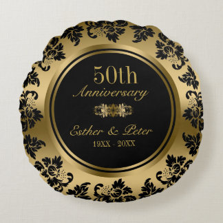 Elegant Gold Damask 50th Wedding Anniversary Round Cushion