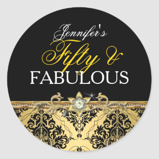 Elegant Gold Damask Fifty and Fabulous 2 Classic Round Sticker