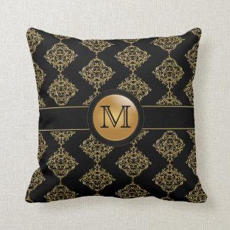 Elegant Gold Damask Pattern   Monogram Cushion