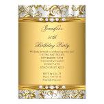 Elegant Gold Damask White Silver Diamond Birthday 13 Cm X 18 Cm Invitation Card