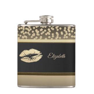 Elegant Gold Diamonds-Glittery Lip-Personalized Hip Flask