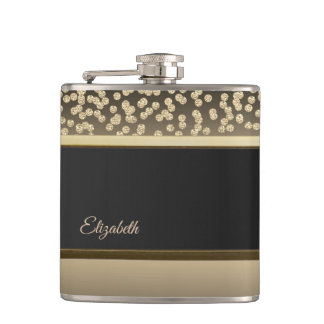 Elegant Gold Diamonds-Personalized Hip Flask