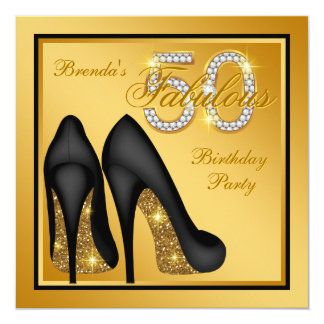 Elegant Gold Fabulous 50th Birthday Party Card