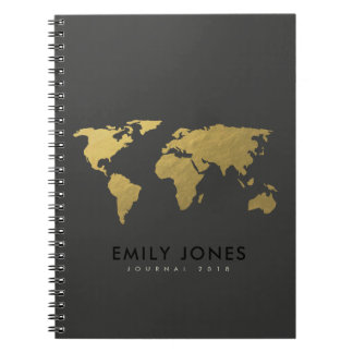 ELEGANT GOLD FAUX BLACK WORLD MAP PERSONALIZED NOTEBOOKS