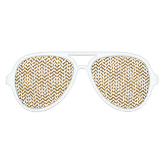 Elegant gold faux glitter chevron pattern aviator sunglasses