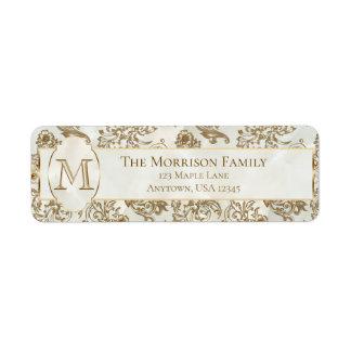 Elegant Gold Faux Marble Monogram Return Address Label