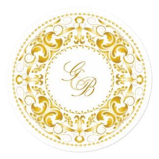 Elegant Gold Filigree Circular Wedding Invitation