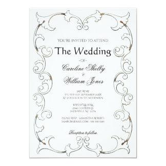 Elegant Gold Filigree Simple Wedding Invitation