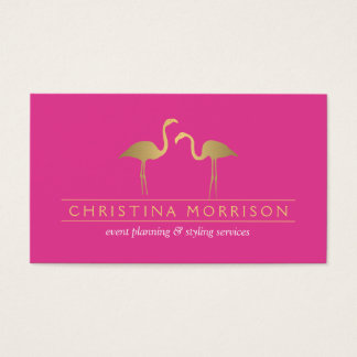 Elegant Gold Flamingos Event Planner Pink Business Card