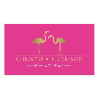 Elegant Gold Flamingos Event Planner Pink Pack Of Standard Business Cards