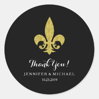 Elegant Gold Fleur de Lis for Wedding on Black Classic Round Sticker