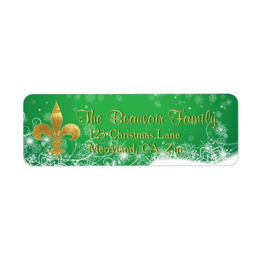 Elegant Gold Fleur Green Holiday Address Labels