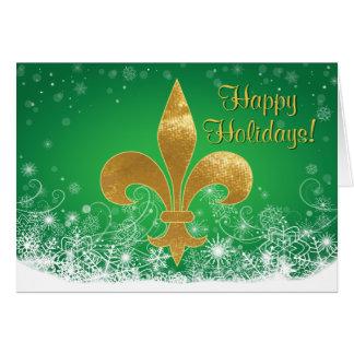 Elegant Gold Fleur Green Holiday Greeting Card