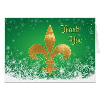 Elegant Gold Fleur Green Holiday Thank You Card