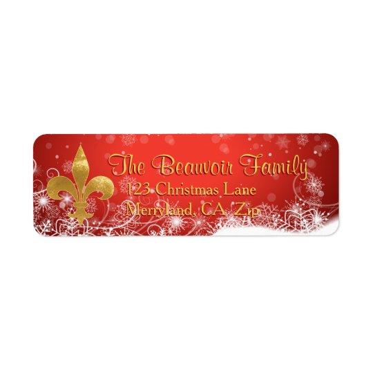 Elegant Gold Fleur Red Holiday Address Labels