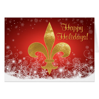 Elegant Gold Fleur Red Holiday Greeting Card