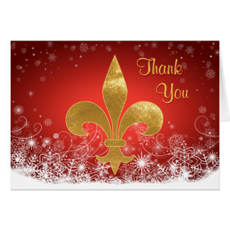Elegant Gold Fleur Red Holiday Thank You Card