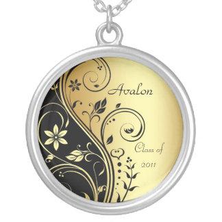 Elegant Gold Floral Class of Graduation  Necklace
