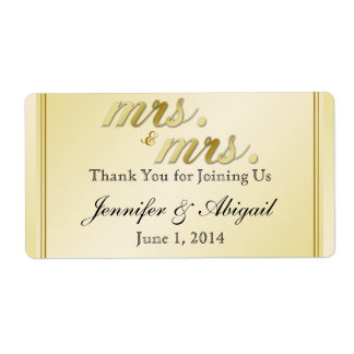 Elegant Gold Floral Gay Wedding Water Bottle Label