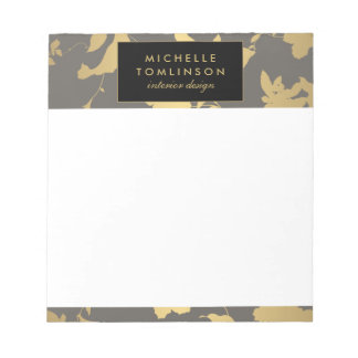 Elegant Gold Floral III Personalized Notepad