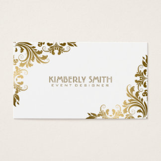 Elegant Gold Floral Lace White Background Business Card