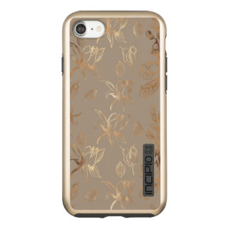 Elegant Gold Floral on Taupe Sophisticated & Chic Incipio DualPro Shine iPhone 8/7 Case