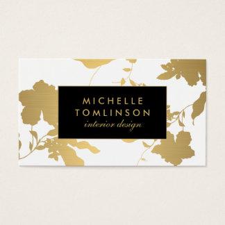 Elegant Gold Floral Pattern White Designer