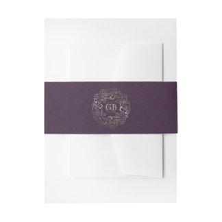 Elegant Gold Floral Vintage Plum Purple Wedding Invitation Belly Band