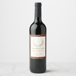 Elegant Gold Floral Wreath Mother's Day Wine Label