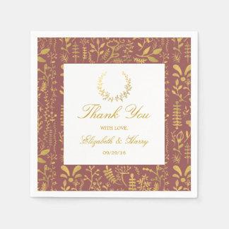 Elegant Gold Floral Wreath Wedding Paper Serviettes