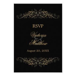 Elegant Gold Flourish and Damask RSVP Cards Personalized Invitation