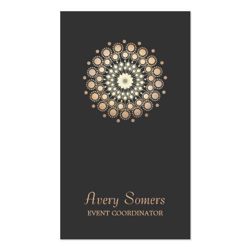 Elegant Gold Flower Motif Event Planner Black Business Cards