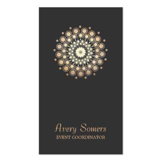 Elegant Gold Flower Motif Event Planner Black Pack Of Standard Business Cards
