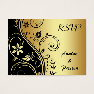 Elegant Gold Flower Scrollwork RSVP Wedding Card