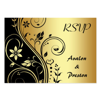 Elegant Gold Flower Scrollwork RSVP Wedding Card Business Cards