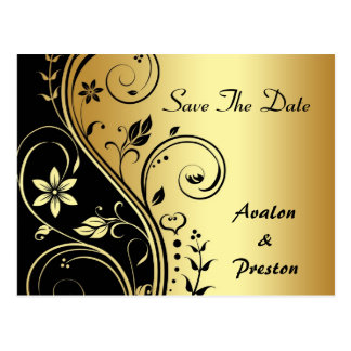 Elegant Gold Flower Scrollwork Save The Date Card Postcard
