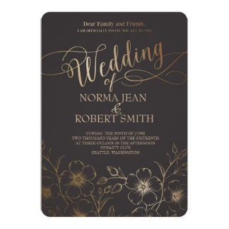 Elegant Gold Flower Wedding Invitation