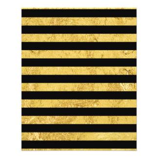 Elegant Gold Foil and Black Stripe Pattern 11.5 Cm X 14 Cm Flyer