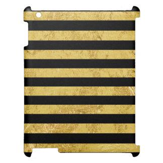 Elegant Gold Foil and Black Stripe Pattern Case For The iPad