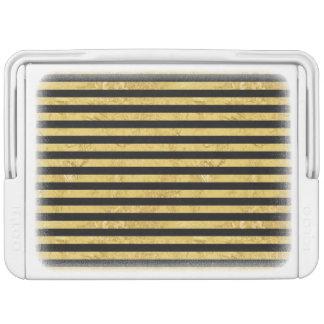 Elegant Gold Foil and Black Stripe Pattern Cooler