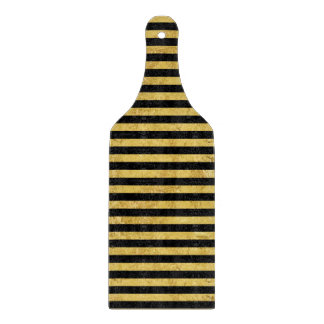 Elegant Gold Foil and Black Stripe Pattern Cutting Board