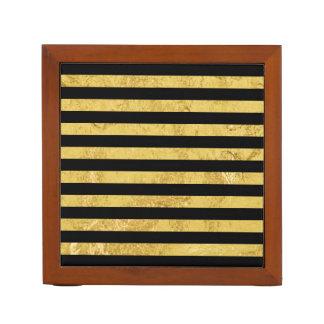 Elegant Gold Foil and Black Stripe Pattern Desk Organiser