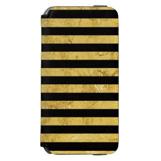 Elegant Gold Foil and Black Stripe Pattern Incipio Watson™ iPhone 6 Wallet Case